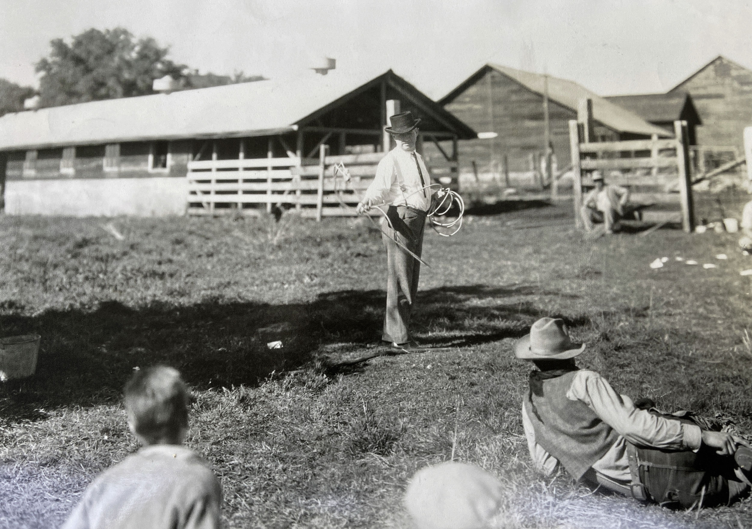 Will Rogers practicing with lasso for The County Chairman in 1935